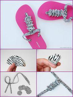 DIY Summer Flip Flop Makeover Ideas Tutorials - DIY Fabric Ruffle Flip Flops Refashion  #Refashion, #Shoes
