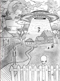 Artist Vinny Michaud Illustration Sketch of An Alien Apocalypse. Illustration, Design & Religious, Creature, Alien, Occult, space Art by Vincent Michaud. http://www.vincentmichaud.vision/illustration/