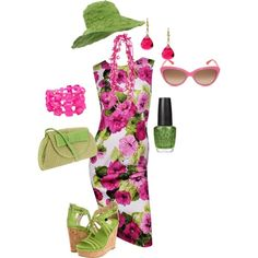 I love pink and green!, created by tacciani  This is a great color combo for springtime. I am in LOVE with this hat, and wish I could wear it! Also, I would love to have matching sunglasses for every outfit.