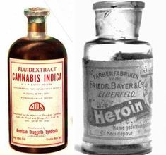 """Bayer's branded product """"Heroin"""" which was touted as a non addictive substitute for morphine… until it was discovered that it actually metabolized into morphine, only on a much more powerful scale. (Sorry - not really that funny. Antique Bottles, Vintage Bottles, Bottles And Jars, Mini Bottles, Retro Ads, Vintage Ads, Vintage Travel, Old Medicine Bottles, Garage Art"""