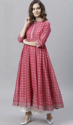 Peach Color Cotton Blend Anarkali Style Readymade Kurti #kurtis #readymadekurtis #tops #partywearkurtis #designerkurti #onlineshopping #fashionkurtis #heenastyle