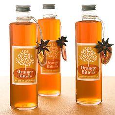 "Orange Bitters   2 oranges  1 bottle/750ml. Everclear (grain alcohol)  10 cardamom pods  2 whole star anise pods  3 cinnamon sticks (ea. 2½"")  1 t. whole cloves  1 T. plus 1 t. chopped fresh ginger  1 C. sugar"