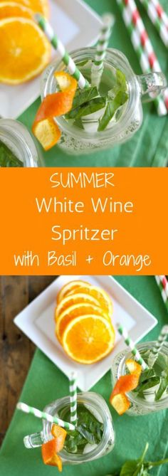 {msg 4 21+}  White Wine Spritzer with Basil and Orange l www.littlechefbig... #blackboxsummer #ad