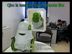 Robot looks in the mirror and learns who he is. Awesome video. :)