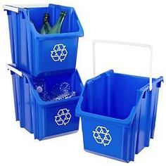 The Container Store > 6 gal. Stack & Carry These bins fit/stack perfectly in a chest freezer. The handles make it easy to move them around to get to what you need. Recycling Storage, Recycling Station, Recycling Containers, Recycling Center, Storage Bins, Recycling Ideas, Laundry Room Storage, Garage Storage, Kitchen Organization