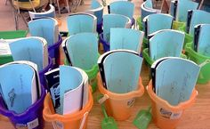 Summer Buckets- great way to keep skills fresh! Fill with left over consumables, journals, and flash cards.