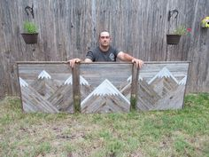 "Large 3 Piece Rustic Mountains Set This piece measures 30""x90"" and is made from reclaimed wood."
