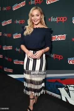 "Abbie Cornish at the ""Jack Ryan"" Panel at the New York Comic Con October, Abbie Cornish, Very Beautiful Woman, Red Carpet Dresses, Celebs, Celebrities, Lace Skirt, Peplum Dress, Photoshoot, Actresses"