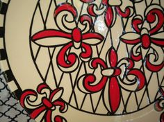 Red Fleur de Lis Charger Plate by FleurDeLisPotterie on Etsy,