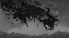 I like the arrangement of the hunting party here. The silhouettes look cool and all of the figures feel really dynamic. I like the horns and the glowing staff/scepter, and the crows are a nice touch [Wild Hunt by IrenHorrors on DeviantArt] Dark Fantasy, Fantasy Art, Herne The Hunter, Goddess Of The Underworld, Hunting Art, Pinturas Disney, Wild Hunt, Weird Stories, Norse Mythology