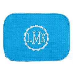 """Waffle Weave Monogrammed Cosmetic Bag - Aqua - definitely a dorm or sorority house """"must have"""" for back to school college life to help keep things nice and organized. Personalize with your favorite monogram. Monogram and frame included! BeauJax Boutique www.beaujax.com"""