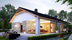 Projekt domu Daniel G2 energo 120,64 m² - koszt budowy - EXTRADOM Modern House Floor Plans, Modern House Design, House Plans, Bungalow Exterior, Modern Farmhouse Exterior, Style At Home, House Designs Ireland, Design Exterior, Home Fashion