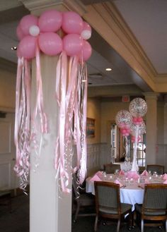 Balloons around the columns with the streamers below would be cute for a girl's birthday party or baby shower. Balloon Columns, Balloon Arch, Balloon Ideas, Balloon Flowers, Balloon Designs, Pink Flowers, Birthday Decorations, Wedding Decorations, Ballon Rose