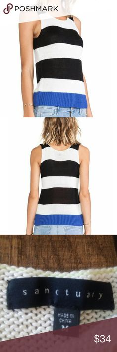 Sanctuary striped color block knit sweater tank Black, white, blue color block stripes with a touch of line thread at the top collar and bottom of the tank. Adds a super cute pop of color. Very soft and comfortable and a fun wardrobe addition!  Brand new condition 100% acrylic , size M Sanctuary Tops Tank Tops