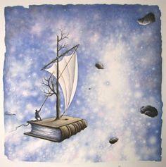 """No llegué a la literatura desde la libertad, sino a la libertad desde la literatura."" Ismail Kadarie. ILUSTRACION: Flying book - Oldřich Jelen"