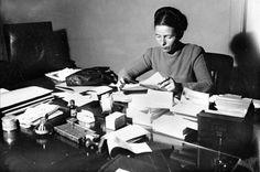 Simone de Beauvior ~ nice to know she kept her desk the same way I keep mine