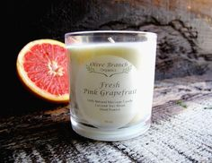 Organic Fresh Pink Grapefruit Coconut Wax Massage Candle with Essential Oils from Olive Branch Organics