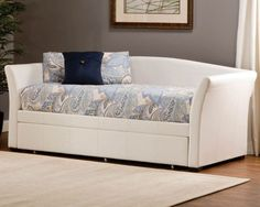 Hillsdale Montgomery White Faux Leather Finish Modern Sleigh Daybed and Trundle- Bedroom Furniture-Home and Patio Decor Center Pop Up Trundle, Daybed With Trundle, Sofa Daybed, Upholstered Daybed, Leather Daybed, Hillsdale Furniture, Online Furniture Stores, Furniture Shopping, Guest Bed