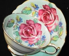 Paragon ROSE PINK Tea cup and saucer BLUE