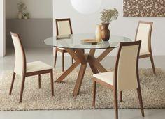 Tisch mit Stühlen cremig holz glas