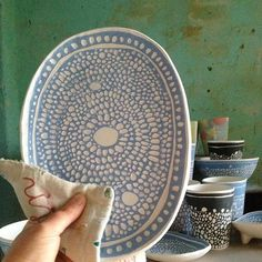 Toasty shibori platter out of the kiln #sarahmurrayceramics #australianceramics #bisqueware#shibori#blueandwhite#flatware#platter#stoneware#homestudio#etsy#etsyau#tableware#sharedtable