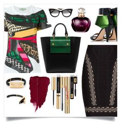 """Dark Greens"" by tara-omar ❤ liked on Polyvore featuring STELLA McCARTNEY, Kim Kwang, Yves Saint Laurent, Hervé Léger and Mulberry"