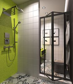 Here you may find out Modern Bathroom design for your Bathroom. Visit Small Minimalist Bathroom Designs Decorated With Variety Of Modern Pattern Tile Designs Looks Attractive to learn more. Lime Green Bathrooms, Minimalist Bathroom Design, Contemporary Baths, Small Living Rooms, Beautiful Bathrooms, Small Apartments, Small Bathroom, Modern Bathroom, House Design