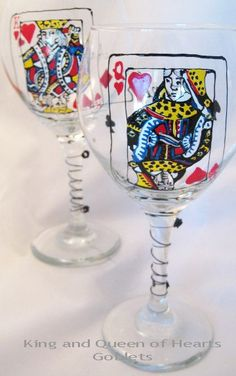 Hand-Painted King and Queen of Hearts. via Etsy.