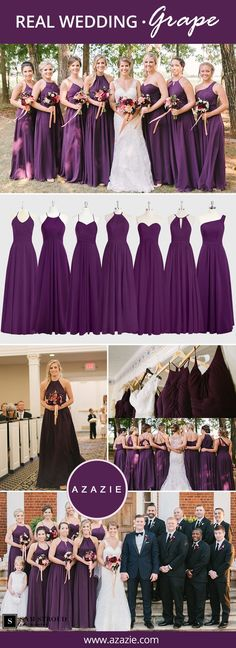 Bridesmaid Dresses Azazie is the online destination for special occasion dresses. Our online boutique connects bridesmaids and brides with over 400 on-trend styles, where each is available in 50 colors. Grape Bridesmaid Dresses, Bridesmaid Dress Colors, Wedding Bridesmaids, Wedding Dresses, Occasion Spéciale, Occasion Dresses, Special Occasion, Purple Wedding, Wedding Colors