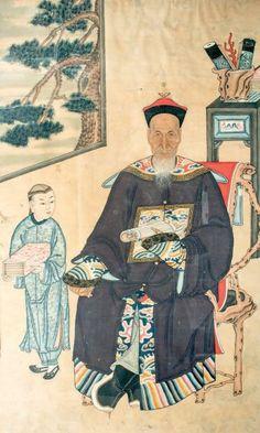 Encre et polychromie sur papier, portrait d'ancêtre assis sur un fauteuil, accompagné de son serviteur devant une fenêtre. (Petits accidents...