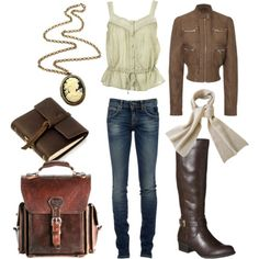 bomber jacket, lace button cami, riding boots, leather backpack, cameo necklace >> everyday steampunk wear
