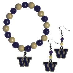 """Checkout our #LicensedGear products FREE SHIPPING + 10% OFF Coupon Code """"Official"""" Washington Huskies Fan Bead Earrings and Bracelet Set - Officially licensed College product Colorful dangle earrings with team colored fan beads and hypo-allergenic fishhook posts The chic team charm has enameled team colors and carved details Brightly colored bead bracelet stretches to fit even large wrists This is the perfect fan set for any fashionable female Washington Huskies fan  - Price: $20.00. Buy now…"""