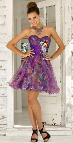 Blush Organza over Print Short Homecoming Party Dress 9281 at frenchnovelty.com