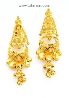 Buy 22K Gold Drop Earrings - GER6798 with a list price of $322.99 - 22K Indian Gold Jewelry from Totaram Jewelers