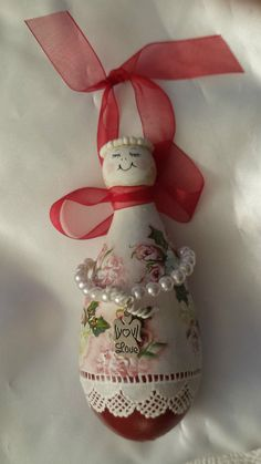 Hand Painted Gourd Christmas Ornament Red Cottage Chic Roses Lace Shabby HP