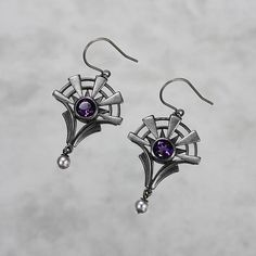 Goth earrings oxidized silver earrings amethyst earrings