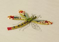 Dragonfly Bead Embroidery in Progress