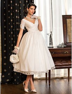 Wedding Dress A Line Tea Length Taffeta V Neck Little White Dress With Criss Cross Bodice – USD $ 79.99