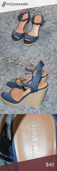 Nine west sandals with platform Gorgeous blue sandals with platform,very comfortable and in great condition. Nine West Shoes Sandals