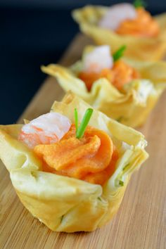 Sweet potato and shrimp combine with onion and garlic in this savory Thanksgiving hors d'oeuvre served in layers of flaky phyllo dough