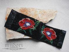 Tear, Loom Beading, Poppies, Glass Beads, Handmade Jewelry, Beadwork, Bracelets, Flowers, Leather