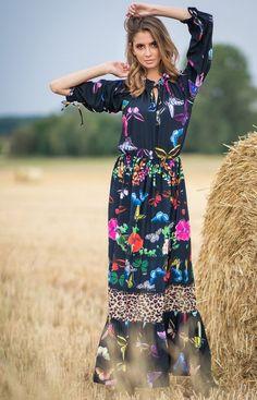 Fobya Sukienka maxi w motyle F757