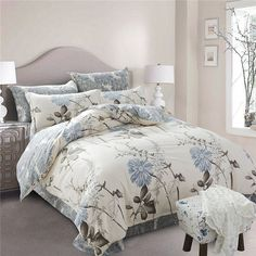Cheap bed linen set, Buy Quality linen set directly from China bedding fashion Suppliers: 2016 fashion bedding floral duvet cover bed sheet pillow cases king queen double full twin size bed linen set/aqua Teal Bedding Sets, King Size Comforter Sets, Cotton Bedding Sets, Queen Bedding Sets, King Comforter, Floral Comforter, Grey Comforter, Cotton Sheets, Cotton Duvet
