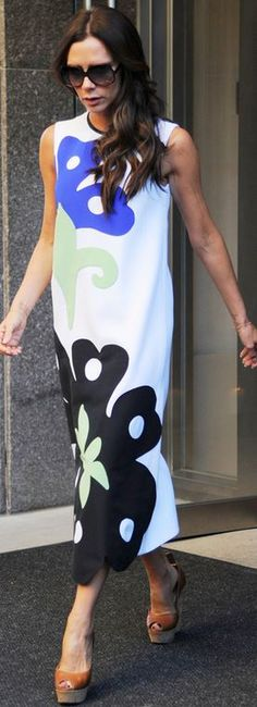 Who made  Victoria Beckham's whit print dress?