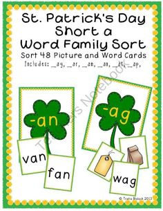 St. Patricks Day themed Short a Word Families Sort product from TrishaB on TeachersNotebook.com
