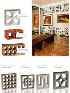 some samples of perforated concrete block screen Modern Exterior, Interior And Exterior, Interior Design, Breeze Block Wall, Concrete Block Walls, Interior Architecture, Sweet Home, New Homes, Construction