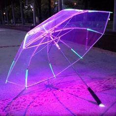 Buy New 8 Rib Light Up Blade Runner Style Color Changing LED Umbrella with Flashlight Transparent Handle Straight Umbrella Parasol