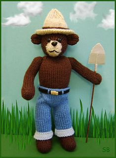Granger the Ranger Bear - $4.50 - Granger stands 12 inches high. Knitted flat, using 3mm needles and DK or equivalent yarns from a fun, easy to follow pattern. No complicated stitches or shaping. Instructions included for making the shovel.