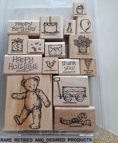 FAVOURITE-TEDDY-BEAR-Stampin-039-Up-16-pc-Mounted-Rubber-Stamp-Set-2003 Stampin Up, Gallery Wall, Happy Birthday, Teddy Bear, Holiday Decor, Frame, Cards, Happy Brithday, Picture Frame