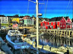 """Lunenburg, Nova Scotia, Canada-a nice little town thst proudly displays the famed racing/fishing schooner """"Bluenose"""". Lunenburg Nova Scotia, Annapolis Valley, Puzzle Of The Day, Canada Eh, Atlantic Canada, Prince Edward Island, New Brunswick, Fishing Villages, Newfoundland"""